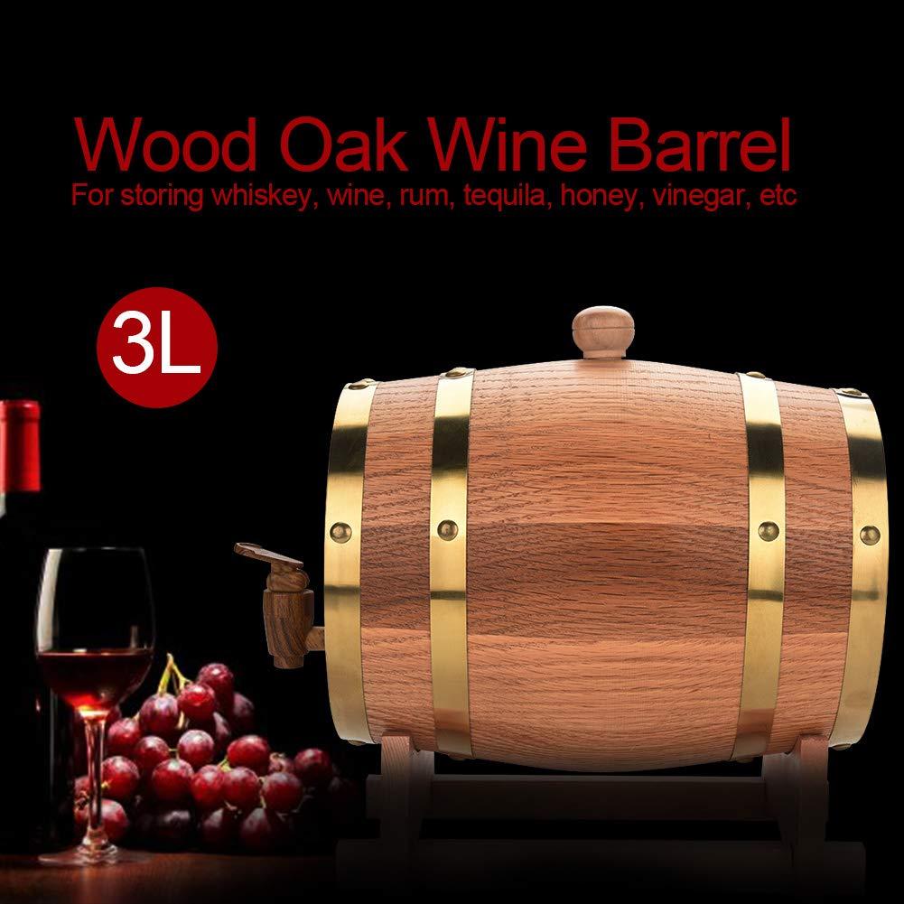 Oak Barrel, Wooden Wine Barrel, Vintage Timber Wine Barrel for Beer Whiskey Rum Bourbon Tequila 3L/5L/10L (3L) by EBTOOLS (Image #5)