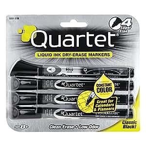 Quartet Dry Erase Markers, EnduraGlide, Super Fine Tip, Black, 4 Pack (5001-31M)
