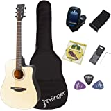 JMFinger Full Size 41 Inch Cutaway Acoustic Guitar for Beginners, Starter Guitar Kits with Bag, Tuner, Strap, Picks, Natural