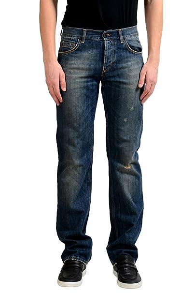 Amazon.com: Exte para hombre azul envejecido clásico jeans ...