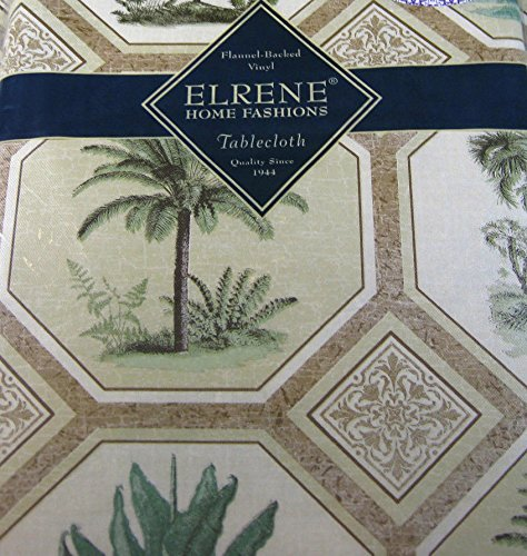 Flannel Back Vinyl Palm Trees Tablecloths- – Assorted Sizes Oblong and Round By Elrene 52 x 90 Oblong