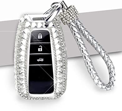 Purple PGONE Car Key Case Key Shell Fob Key Cover Key Chain Lady Key Ring with Bling Diamond Crystals for Audi A1 A3 A4 A5 A6 A7 A8 Q5 Q7 3 Buttons Keyless Entry Remote Control Smart Key