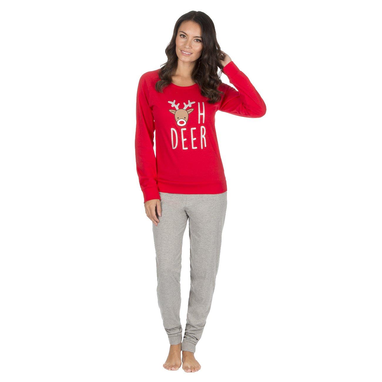 Forever Dreaming Womens Novelty Xmas Pyjama Set - Cotton Christmas PJ Top & Bottoms