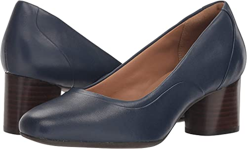 93cee65398481 CLARKS Un Cosmo Step Womens Pumps Navy Leather 7