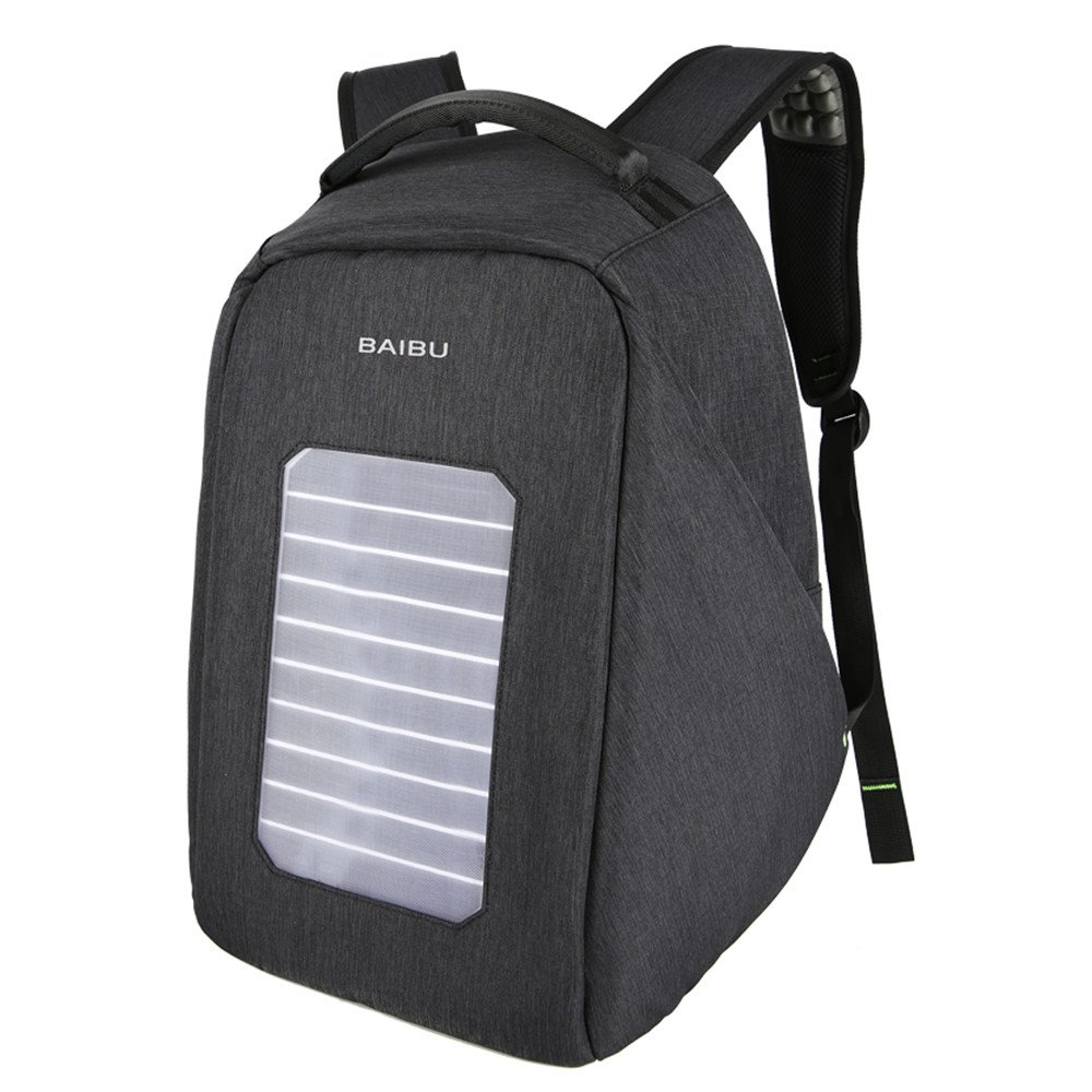 Solar Powered Charger Backpack,Polyester Waterproof Outdoor Travel Camping Rucksack Anti-theft 16'' Business Laptop Backpack (Black)