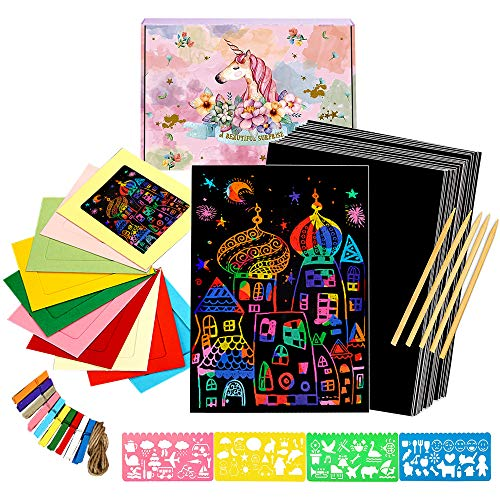 COONC 50 Sheets Rainbow Scratch Paper; Scratch Art Paper; Black Doodle Pad with Rainbow Background with 10 Cardboard Frames, 5 Wooden Styluses and 4 Drawing Stencils