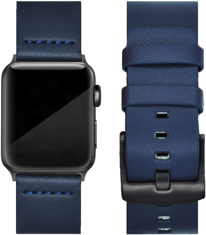 UOOFROM Leather Band Compatible with Apple Watch Band 42mm 44mm, Luxury Genuine Leather Bands Replacement for iWatch Series 6/5/4/3/2/1 (blue, 42mm(S1?S2?S3)/44mm(S4?S5))