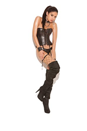 Amazon.com  Elegant Moments Women s Leather Corset With Lace Up ... 447229c07a79