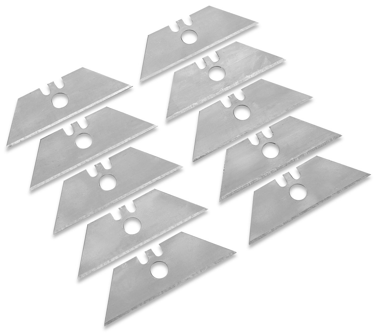 10 Pack Utility Knife Blades- 2 3/8 X 3/4 X 2 3/8 Inch Edge- For All Standard Utility Knife Handles- For All General Purposes, Cutting Boxes, Plywood, Leather, Plastic, And Sheetrock. - By Katzco