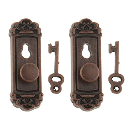 Beau MonkeyJack 2pcs 1:12 Vintage Metal Door Knob Plate Key Set Dollhouse  Miniature Handle