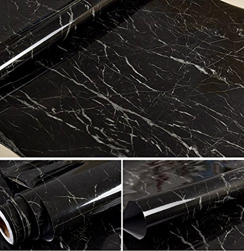 Kitchen Anti-oil Stickers Waterproof Kitchen Wall Sticker Counter top Cabinet Furniture Renovated Jazz Black Marble Contact Paper Home Decor Thick Self-adhesive Wallpaper Roll (24''x393'')