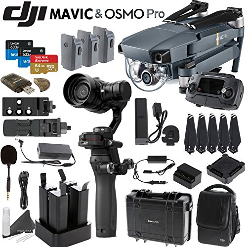 DJI-Mavic-Osmo-Pro-Combo-Includes-4-Osmo-High-Capacity-Batteries-Osmo-Hard-Case-Quad-Charger-DJI-Shoulder-Bag-3-Mavic-Batteries-Spare-Propellers-SanDisk-64GB-MicroSD-Card-and-more