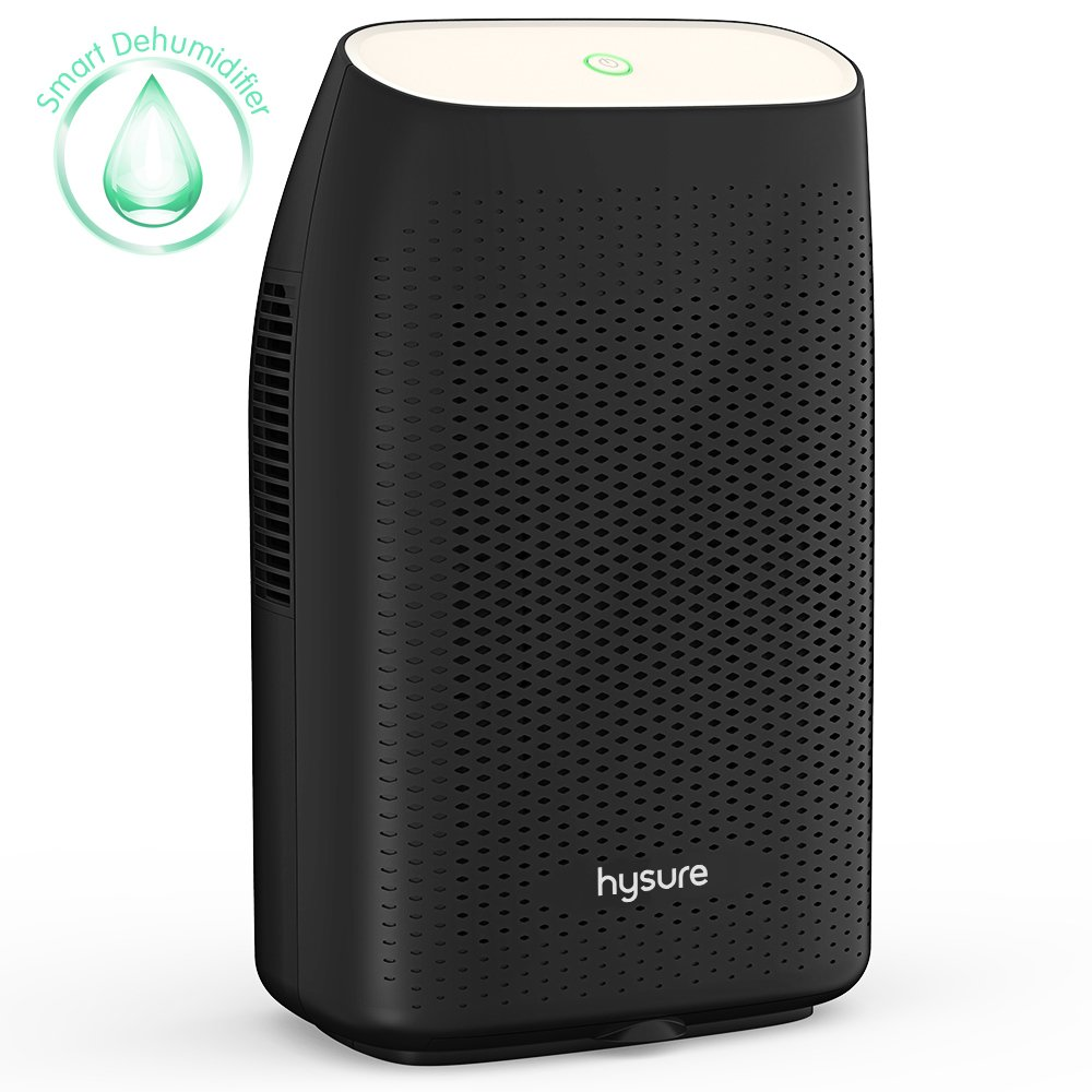 Hysure Electric Dehumidifier, Removes Humidity 300ml per day, 700ml Detachable Water Tank, LED Indicator, Automatic, Efficient, Portable, Quiet, No Need Refill - Black