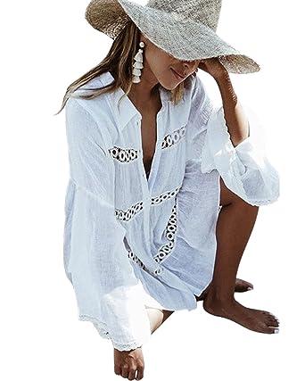 49be9000e7 LANOMI Women Summer Bikini Cotton Cover Up Dress Holiday Party Beachwear  Kaftan (One Size