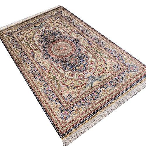 Camel Carpet Blue Hand Knotted Classic Qum Silk Area Rugs Vintage Persian Carpet ()