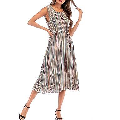 d6a5c00bca5 Amazon.com  IAMUP Ladies Dress Round Neck Sleeveless Tie Color Striped Print  Loose Sexy Dress  Clothing
