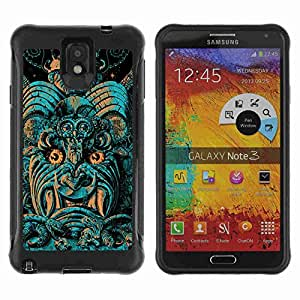 A-type Arte & diseño Anti-Slip Shockproof TPU Fundas Cover Cubre Case para Samsung Galaxy Note 3 III / N9000 / N9005 ( Cool Monster Pattern Statue )