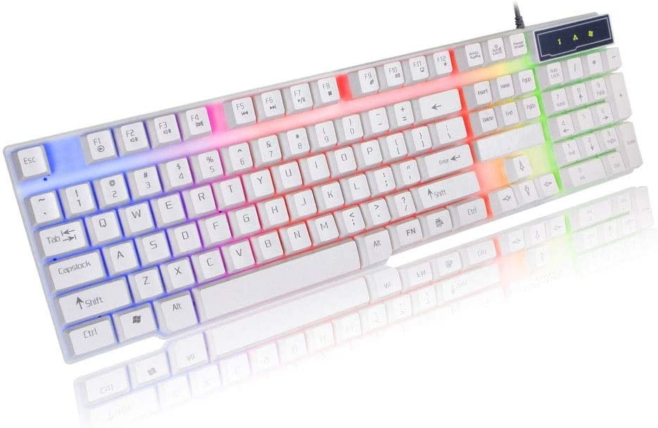 XUNHANG K8 Wired Keyboard Color : White USB Notebook Desktop Computer Keyboard Backlight Floating Button Game Keyboard White and Black