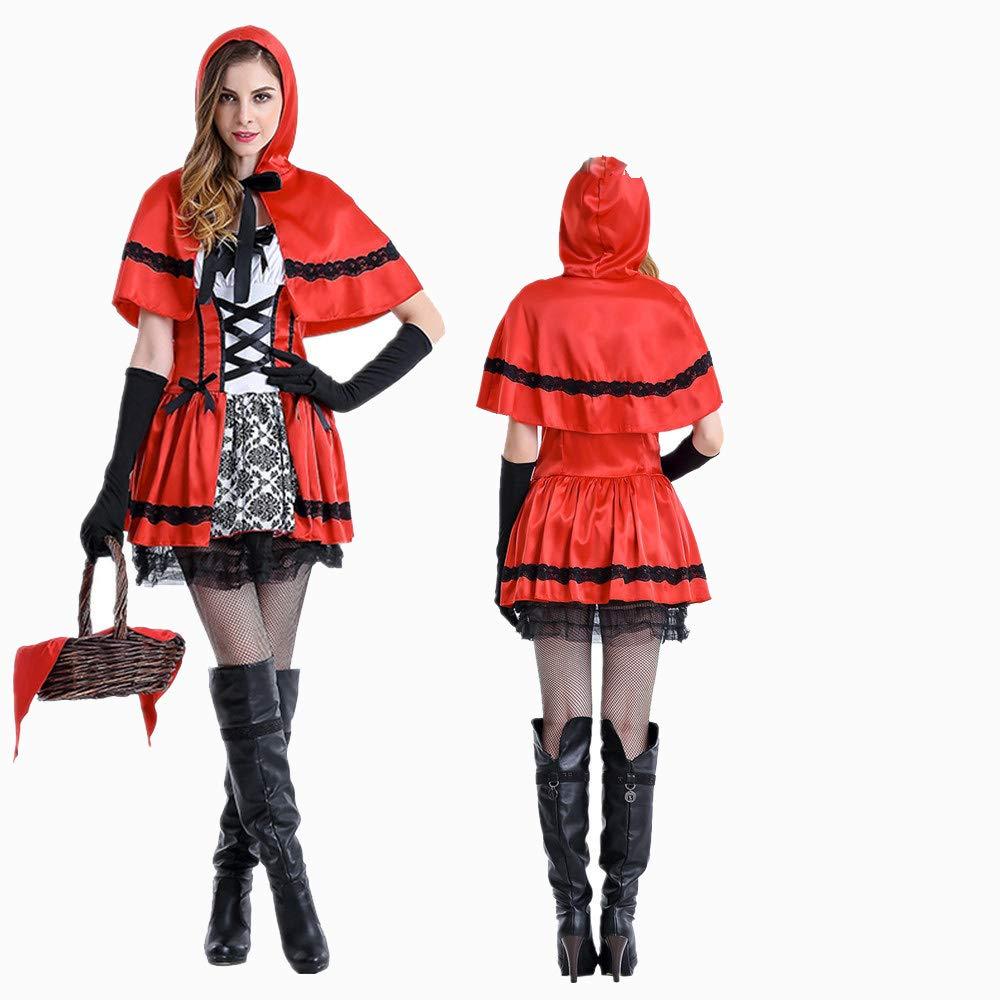 XSQR Halloween Mujer Cosplay Vestido Caperucita Roja Capa Capa ...
