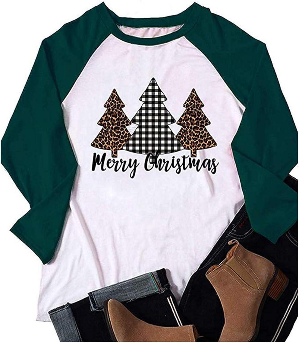 Womens Merry Christmas Baseball T Shirt Sweatshirt Xmas Pullover Blouse Long Sleeve Raglan Tees Splicing Tops