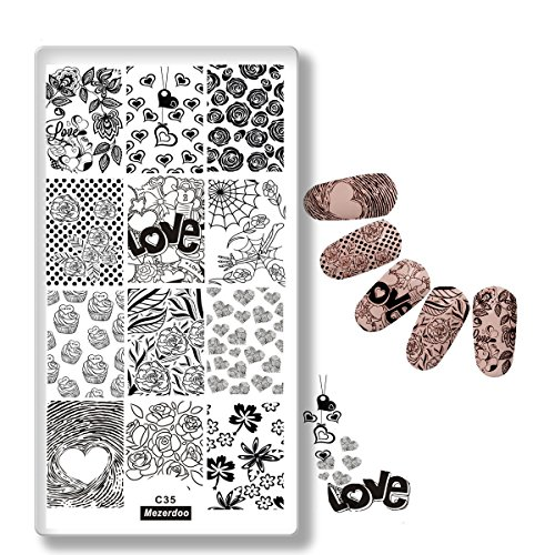Mezerdoo Love Valentine's Day Pattern Stamping Plate Rose Spider Webs Design DIY Nail Art Stamp Image Plate Nail Stencil - Web Rose