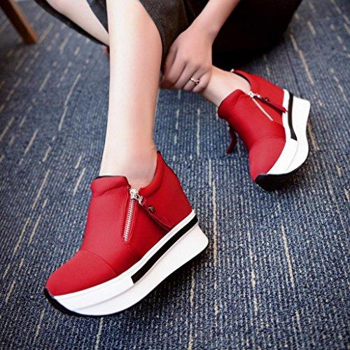 Da Sneakerboots Moda Casuale Traspiranti Piattaforma Ragazza Beauty Scarpe Top Bordo Sneakers Sportive Stivali Rosso Ginnastica Donna XqOz0