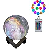 Moon Light, Night Light 16 Colors 3D Galaxy LED Lamp Remote Control & Touch Switch & USB Rechargeable, Room Décor for Birthday Party Kids Baby Gifts(3.2inch)