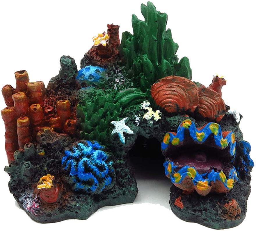 Tutuziyyy Aquarium Coral Stone Plastic Resin Aquarium Landscape Decoration Painted Coral Reef Ornament