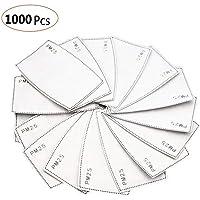 1000 PCS filtro de carbón activado protector de 5 capas reemplazable, PM2.5, papel de filtro externo antivaho, antivaho, antibacteriano, a prueba de polvo, filtro de máscara