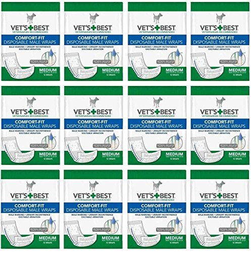 Product image of Veterinarian's Best Comfort-fit 12 packs of 12 wraps (144 total wraps) Disposable Male Wrap,Medium