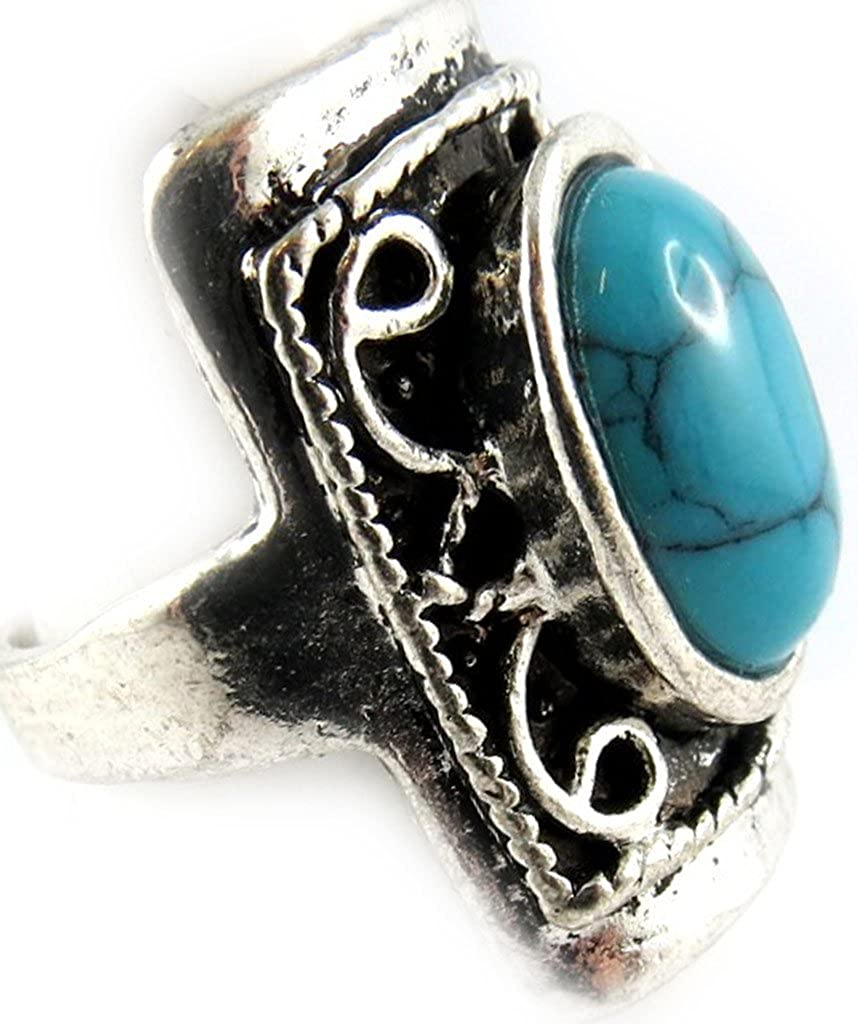 Dos anillos 'Mineralia'gris turquesa.: Amazon.es: Joyería