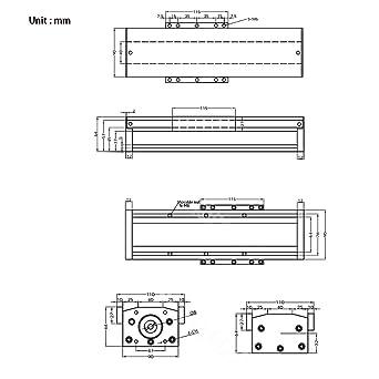 Tanstool FBX - Módulo de mesa con cremallera de doble guía lineal con tornillos de bolas, totalmente sellado con tapa, carrera eficaz 100 mm ~ 1000 mm, Voyage efficace:1000mm, 1: Amazon.es: Industria,