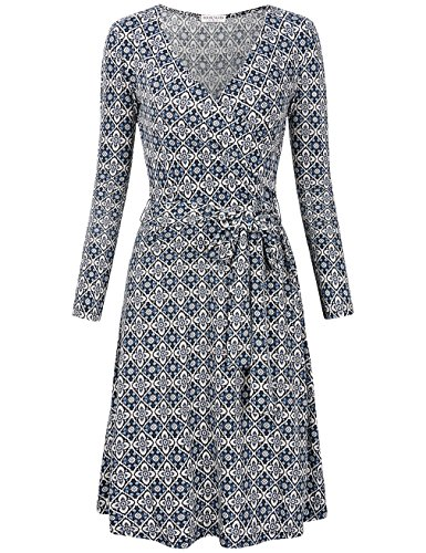 MOOSUNGEEK Women's Vintage V Neck A Line Wrap Dress with Belt (Small, Blue White Flower) from MOOSUNGEEK