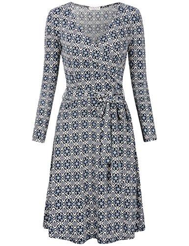 MOOSUNGEEK Women's Vintage V Neck A Line Wrap Dress with Belt (Small, Blue White Flower)