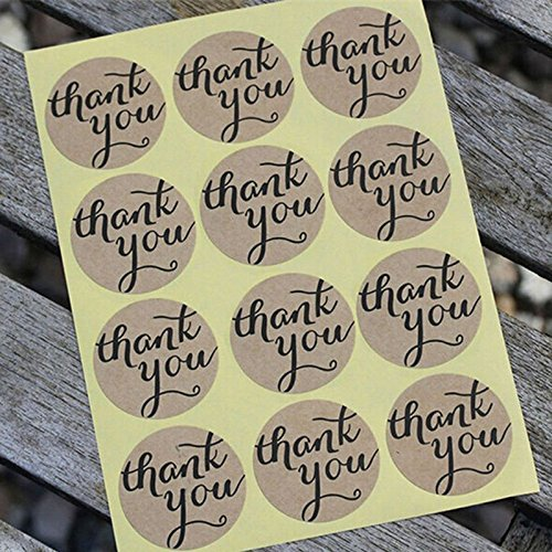Shopline Thank You Round Kraft Paper Sticker Labels Packaging Seals Crafts Wedding Favor Tag Toppers (set of 108) Cake Pops Bakery Stickers