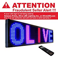 Olive LED Signs 3 Color (RBP) 12 x 50 - Storefront Message Board, Programmable Scrolling Display - Industrial Grade Business Tools