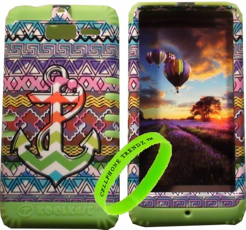 Cellphone Trendz Hybrid Rocker Case for Motorola DROID RAZR M (XT907, 4G LTE, Verizon) - Lime Green Silicone with Hard Multi Color Chevron Tribal Anchor Design