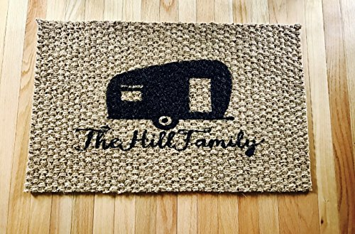 Personalized RV Camper Home Door Mat made our list of personalized camping gifts for RV camp and tent campers