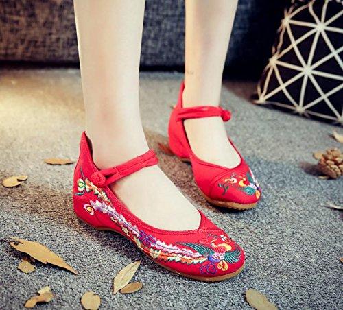ZLL Gestickte Schuhe, Sehnensohle, ethnischer Stil, weibliche Tuchschuhe, Mode, bequem, Tanzschuhe red