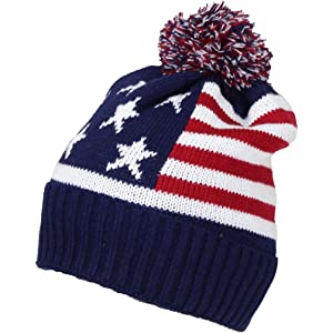 7113b46f10f Best Winter Hats Adult American Flag Cuffed Knit Beanie W Pom Pom (One Size