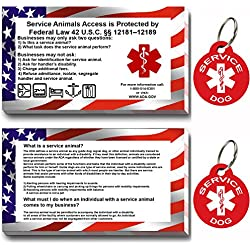 Service Dog ID Tag Kit, 50 Double Sided ADA Information Cards and 2 Premium Aluminum Double Sided Dog Tags (ADA Kit with Round Tags)