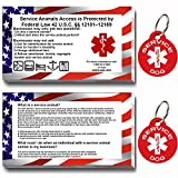 Service Dog ID Tag Kit - 50 Double Sided ADA Information Cards and 2 Premium Aluminum Double Sided Dog Tags (ADA Kit With Round Tags)