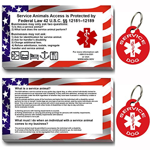 Tag Service Dog - Service Dog ID Tag Kit, 50 Double Sided ADA Information Cards and 2 Premium Aluminum Double Sided Dog Tags (ADA Kit With Round Tags)