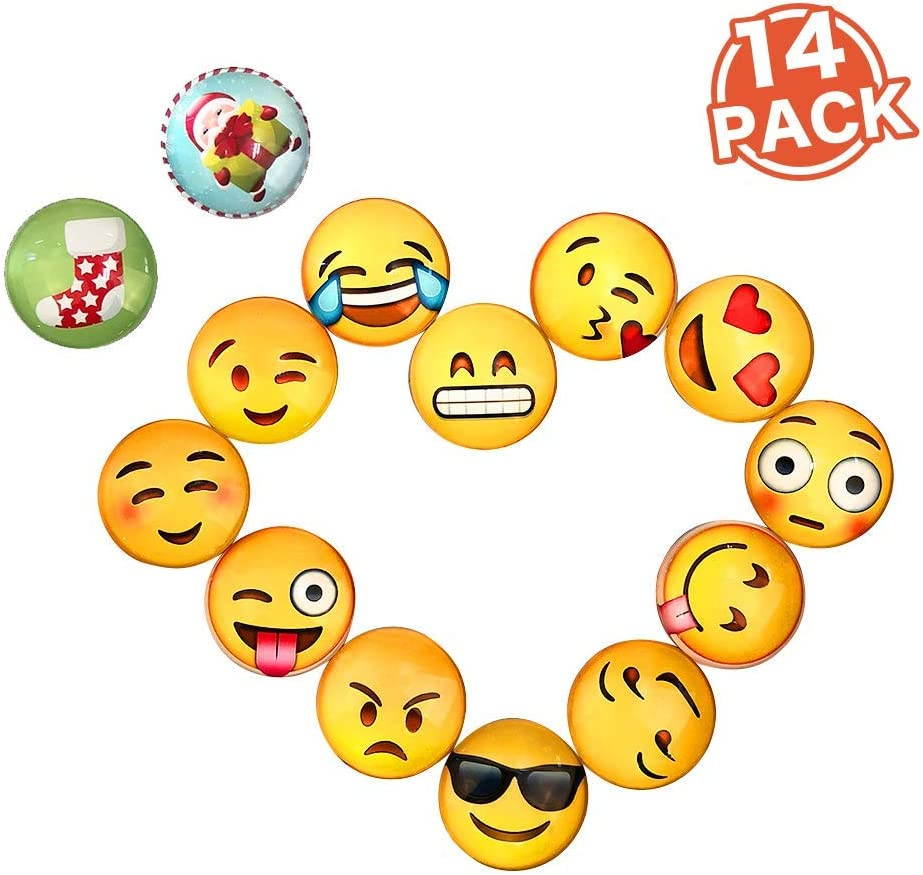 14 Pack Emoji Magnets for Refrigerator, BelleJoomu 3D Emoji Magnets Small Fridge Stickers Funny Magnets for Whiteboard Decoration 1.3 Inch
