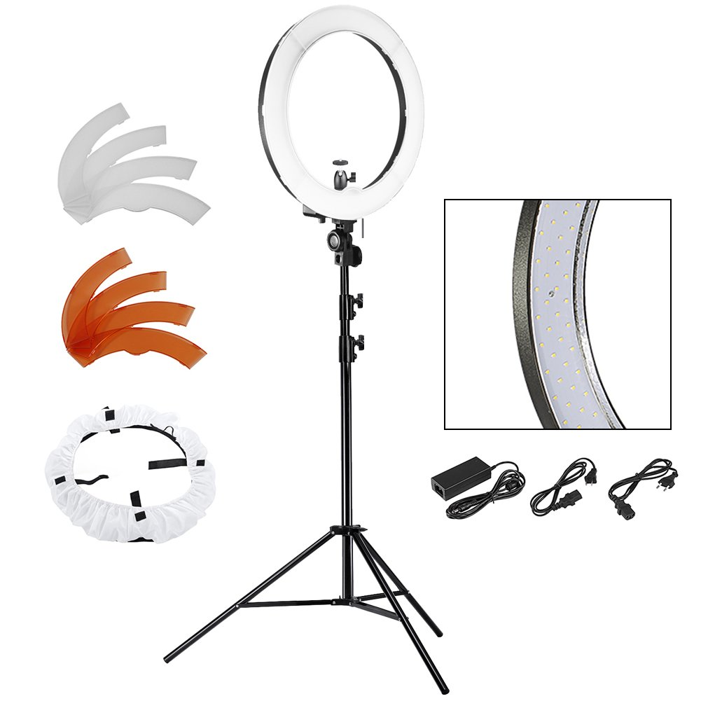 Neewer 18'' LED Ring Light Dimmable for Camera Photo Video,Make Up, Youtube, Portrait and Photography Lighting, Includes(1)Ring Light+(1)9 Feet Heavy Duty Light Stand+(1) Soft & Orange Filter Set