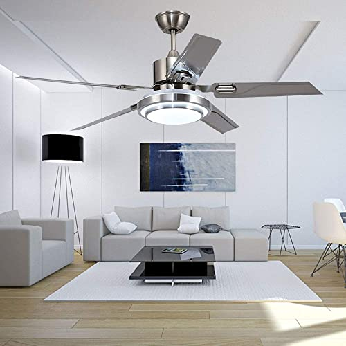Andersonlight Modern LED Ceiling Fan 5 Stainless Steel Blades and Remote Control 3-Light Changes Indoor Mute Energy Saving Fan Chandelier for Home Decoration 48-In