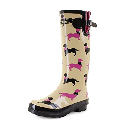 6a65750e96f Womens Wyre Daschund Wellington Boots Fashion Dog Walking Wellies SIZE 8
