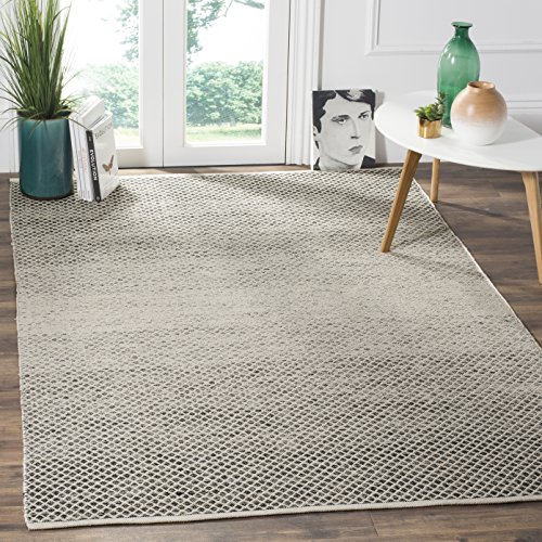 Safavieh Montauk Collection MTK601A Handmade Flatweave Black and Ivory Cotton Area Rug (5' x 8') - Ivory Rug Black Rug