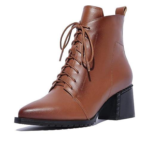 Zapatos de Mujer Martin Tobillo Botines Clásicos con Cordones de tacón bajo: Amazon.es: Zapatos y complementos
