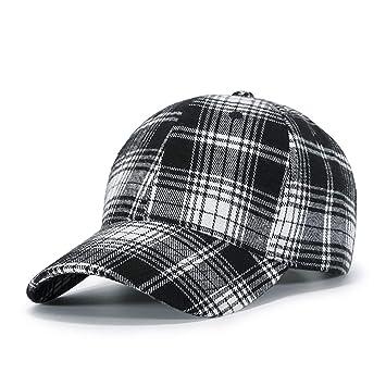 72f57ed46f1 FHTD Unisex Cotton Sun Hat Baseball Cap Autumn Winter Fashion Black White  Plaid Duck Tongue Cap